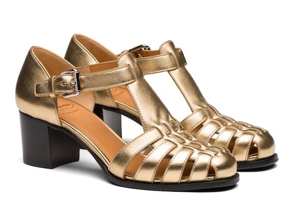 Church's Kelsey 50 Nappa Leather Mid Heel Sandal Light gold