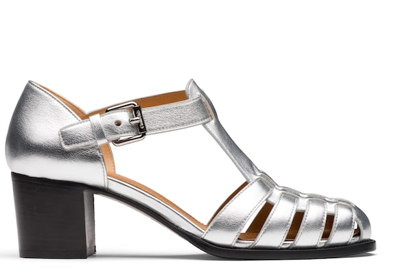 Church's Kelsey 50 Nappa Leather Mid Heel Sandal Silver