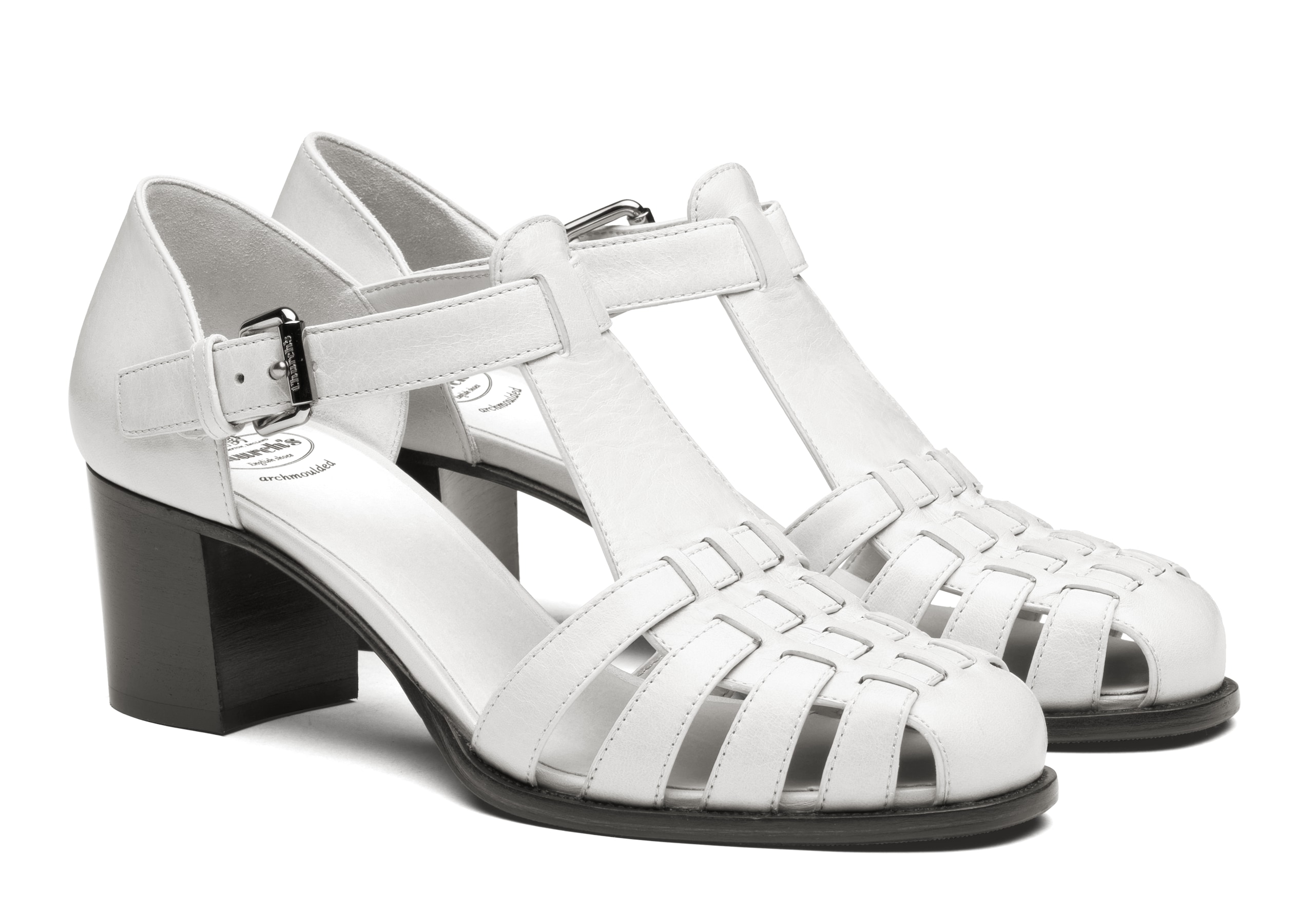 Kelsey 50 Church's Shine Calf Leather Mid Heel Sandal White