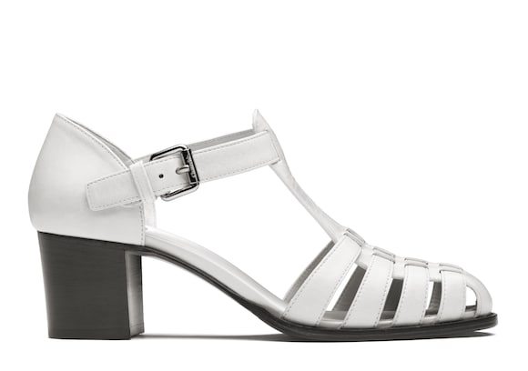Church's true Shine Calf Leather Mid Heel Sandal White