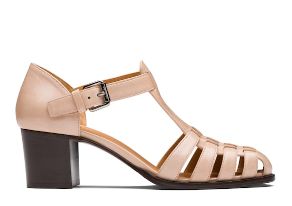 Church's true Shine Calf Leather Mid Heel Sandal Pink