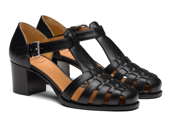 Church's Kelsey 50 Smart Calf Leather Mid Heel Sandal Black