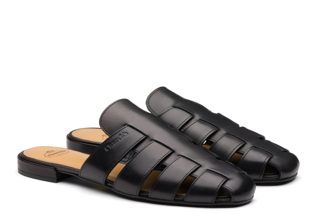 Becky Church's Calf Leather Mule Sandal Black