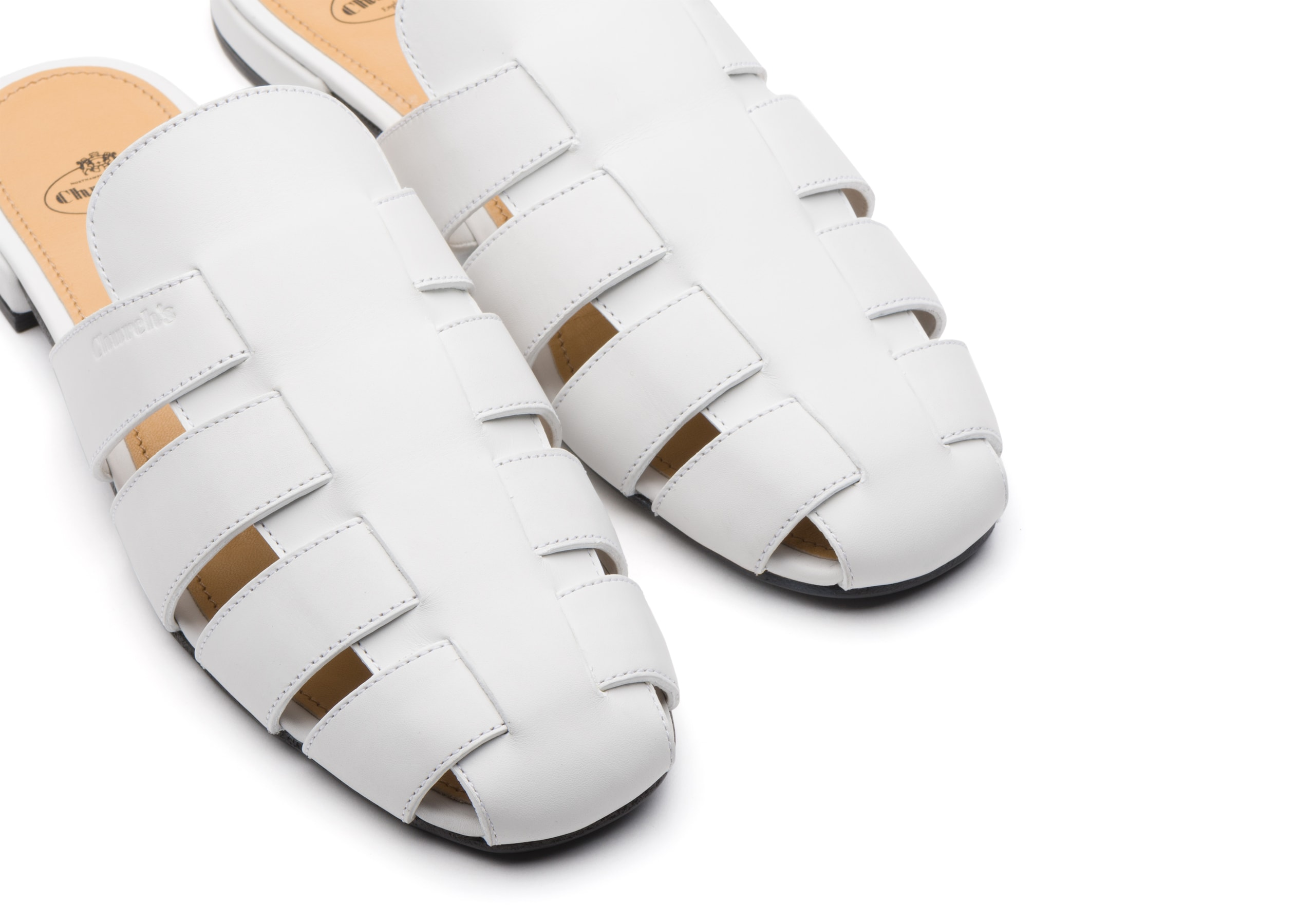 Becky Church's Calf Leather Mule Sandal White