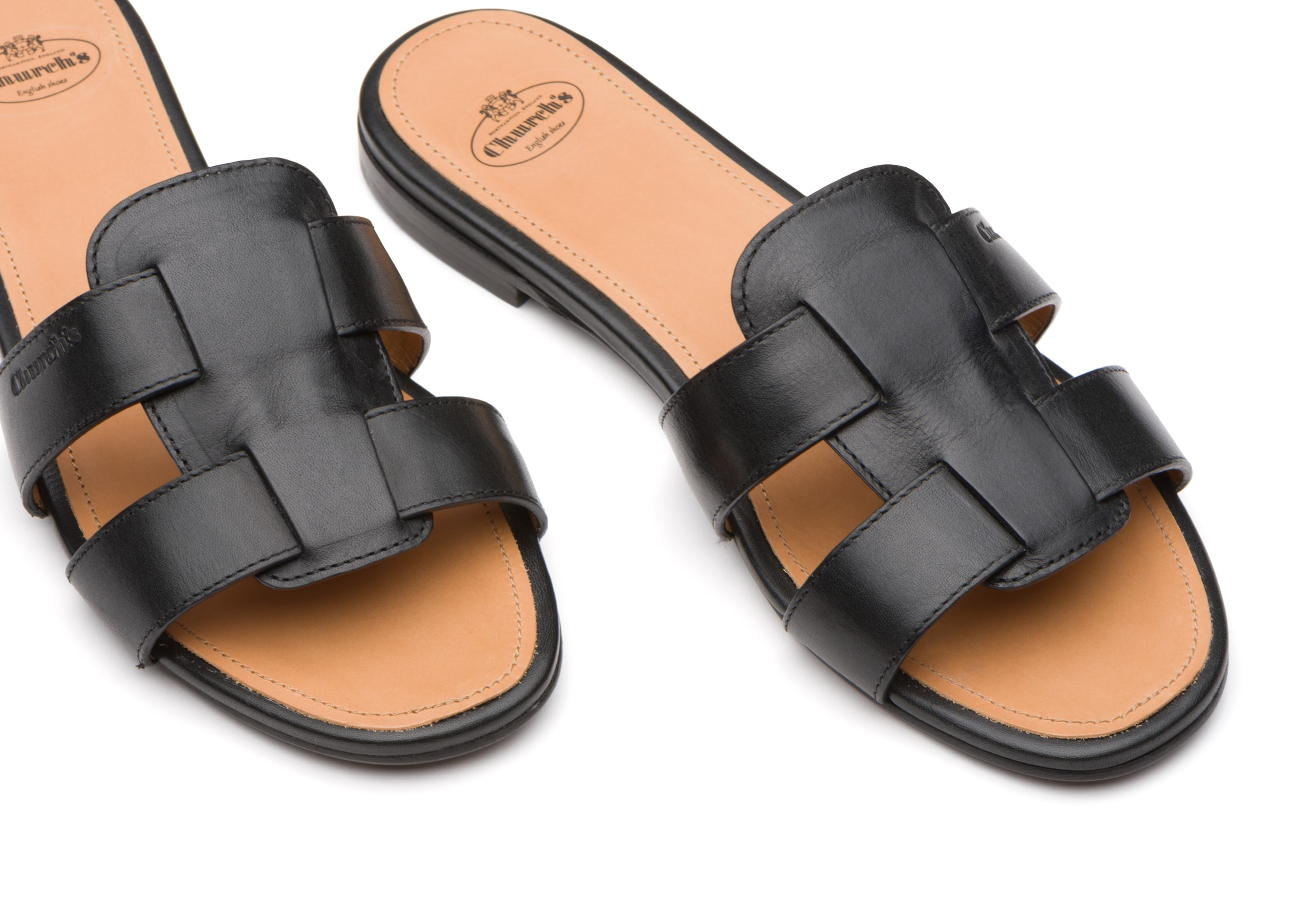 Dee dee Church's Calf leather slip on sandal Black