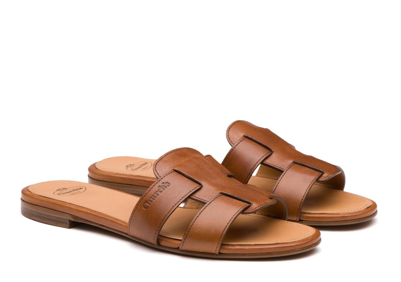 Dee dee Church's Calf leather slip on sandal Brown