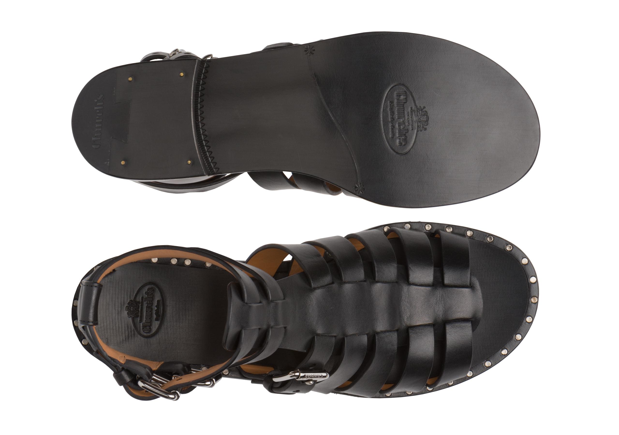 Deb Church's Calf Leather Gladiator Sandal Black