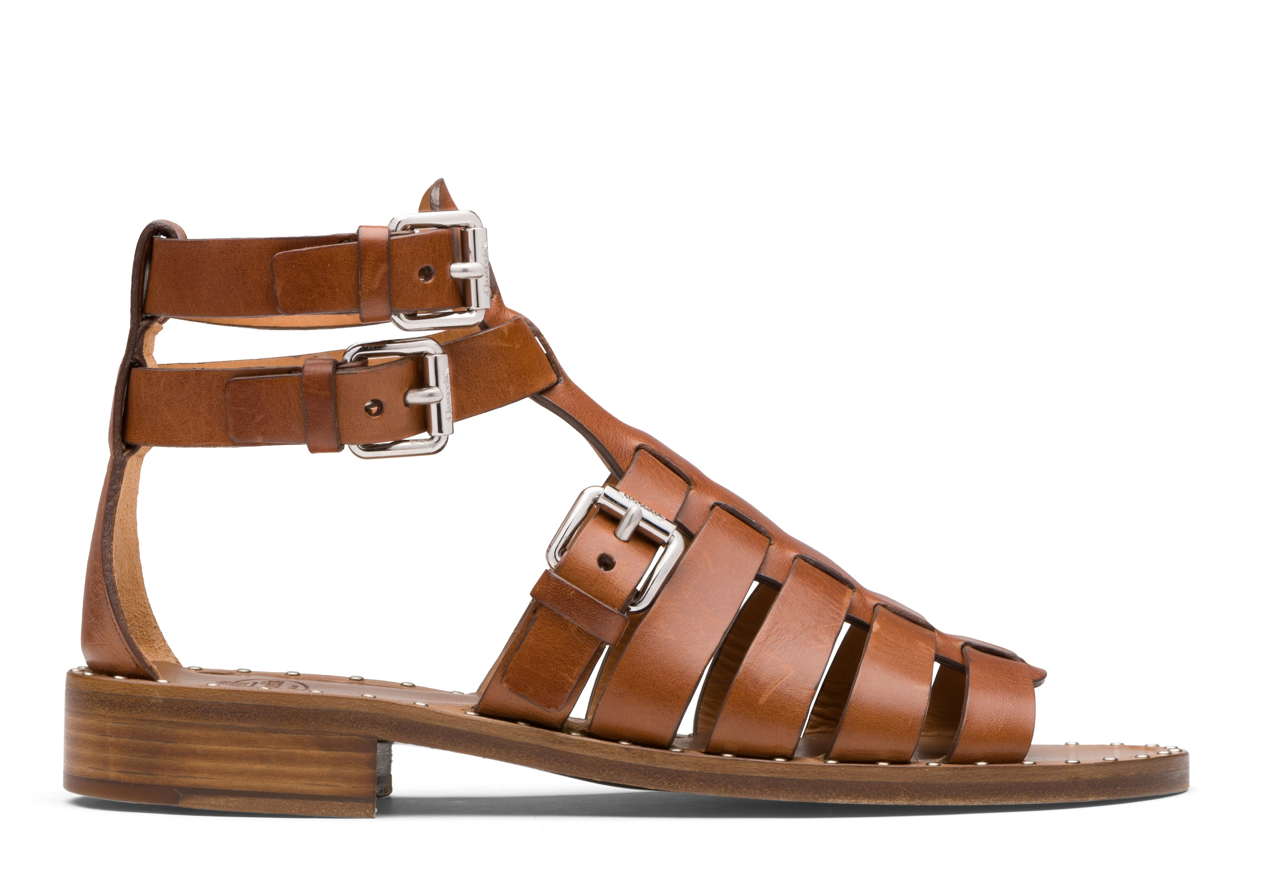 Deb Church's Calf Leather Gladiator Sandal Brown