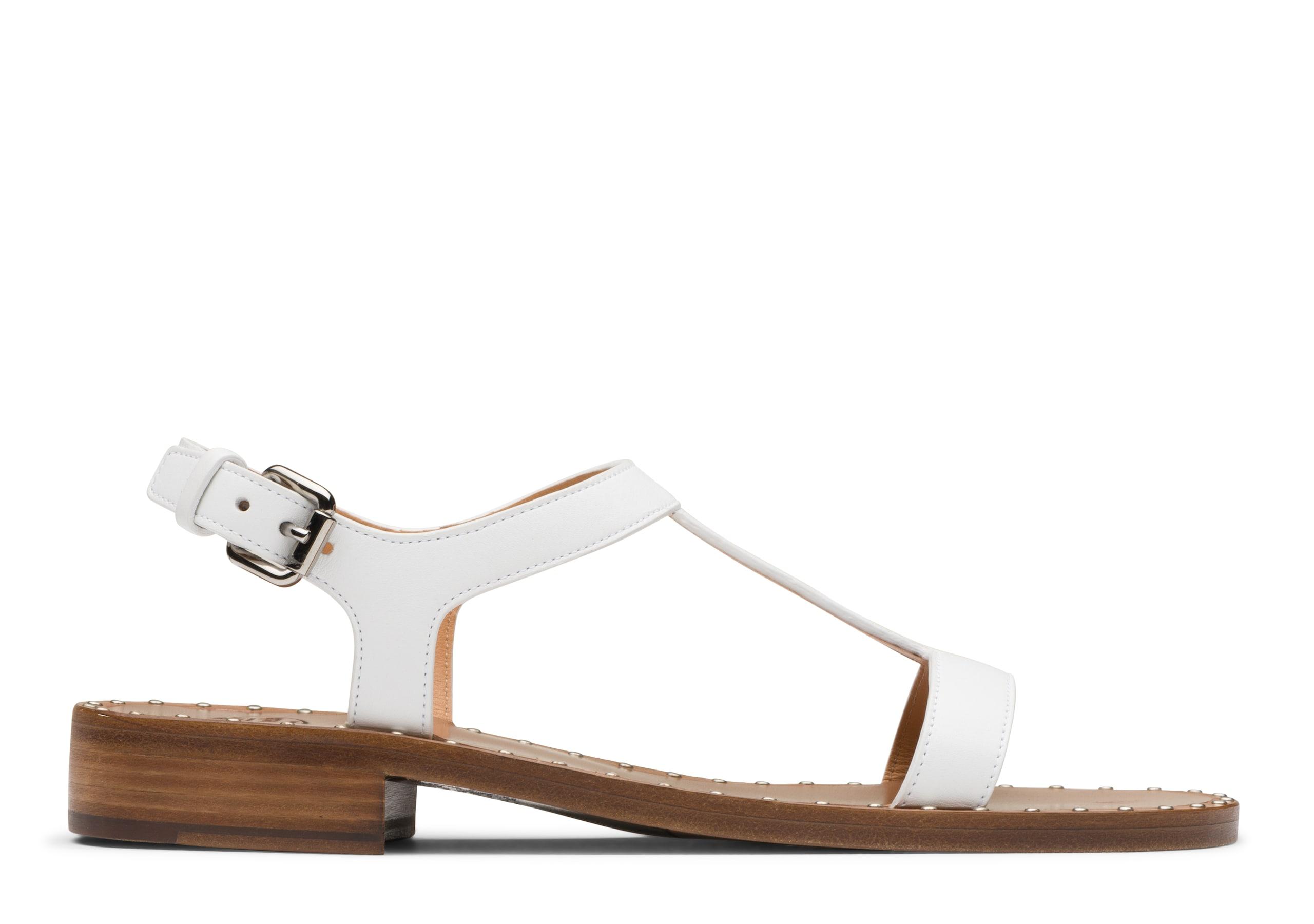 Elly Church's Prestige Calf T-Bar Sandal Stud White