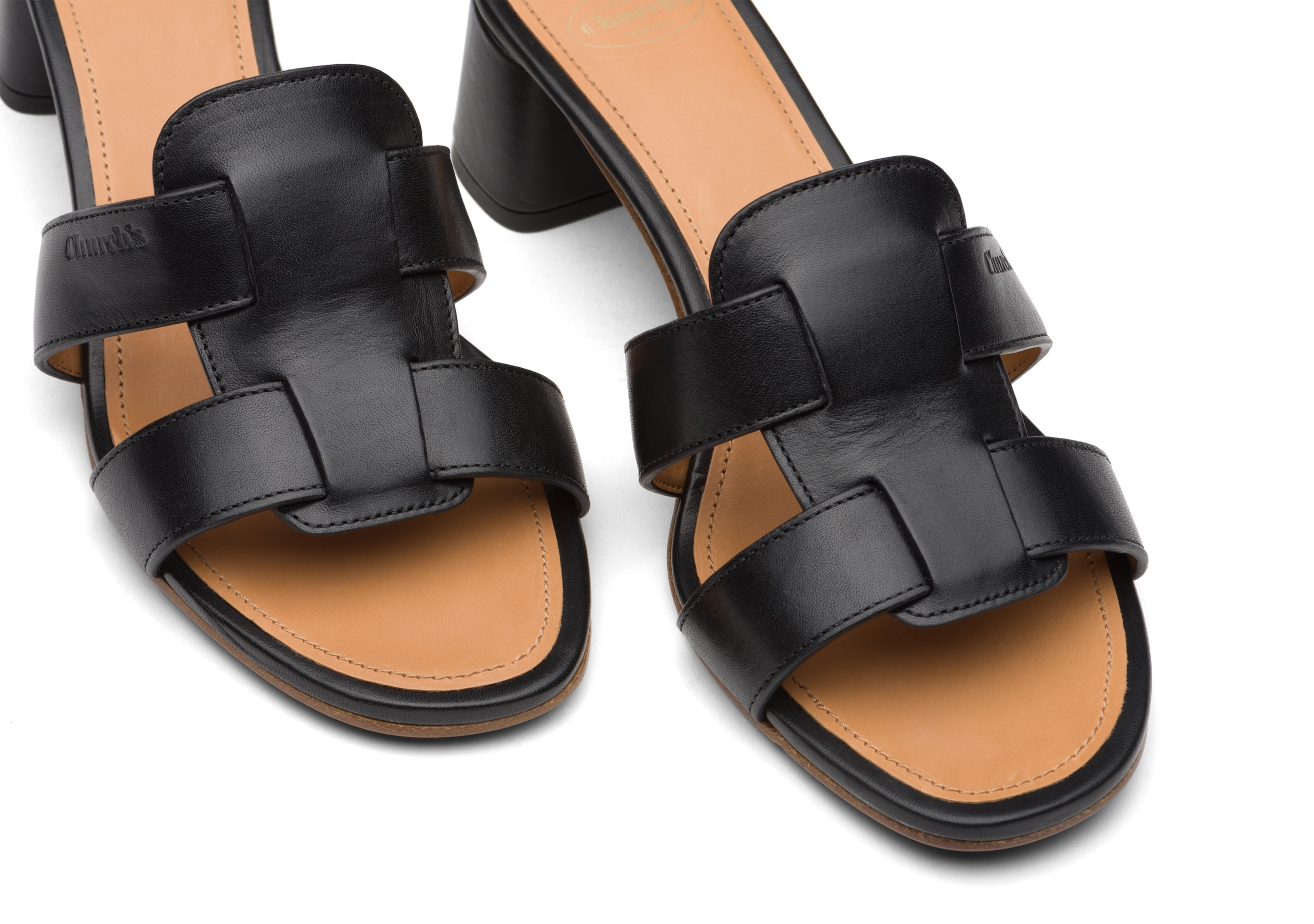 Dee dee 45 Church's Monteria Calf Heeled Sandal Black