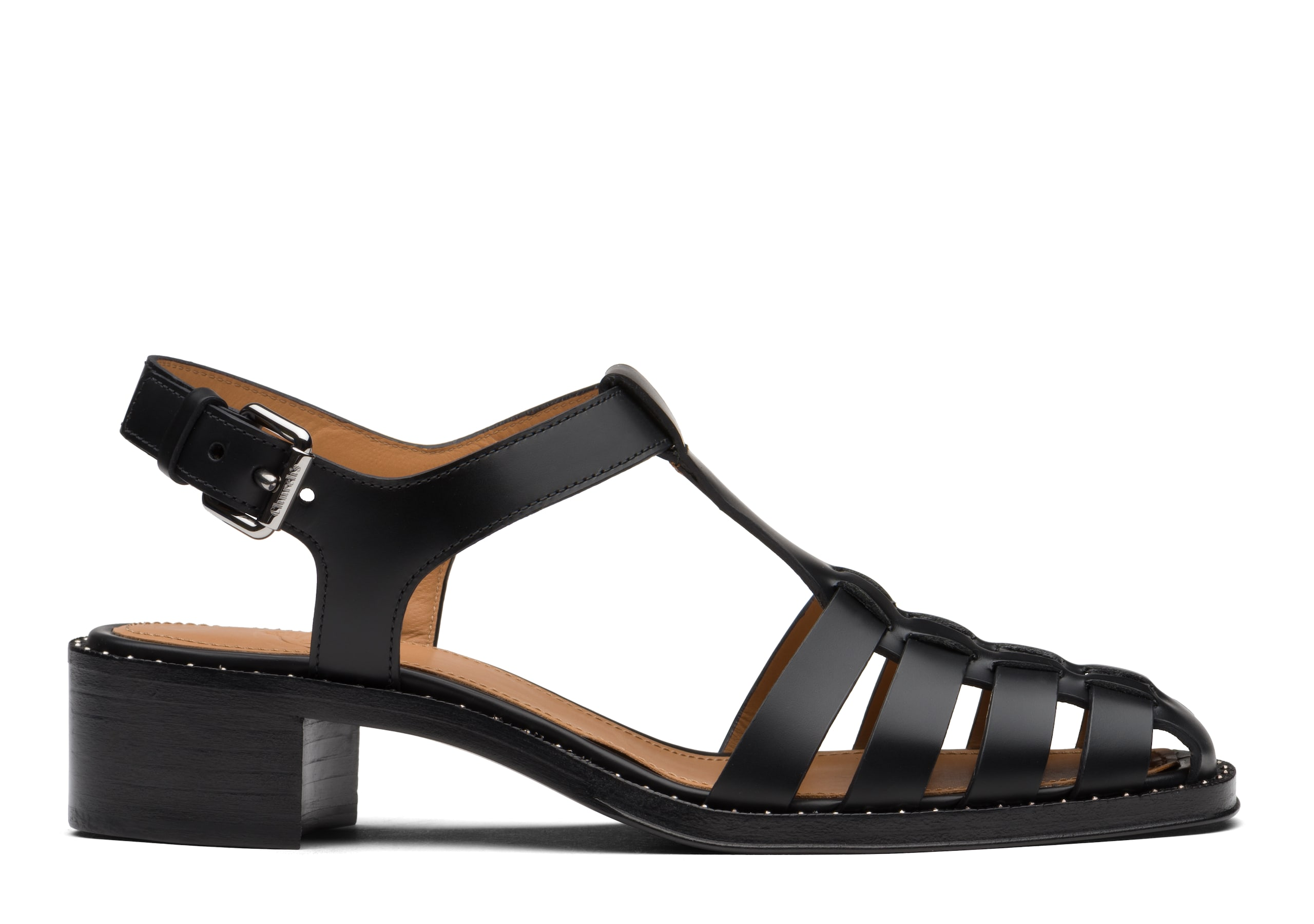 Genny Church's Bookbinder Fumè Square Toe Sandal Black
