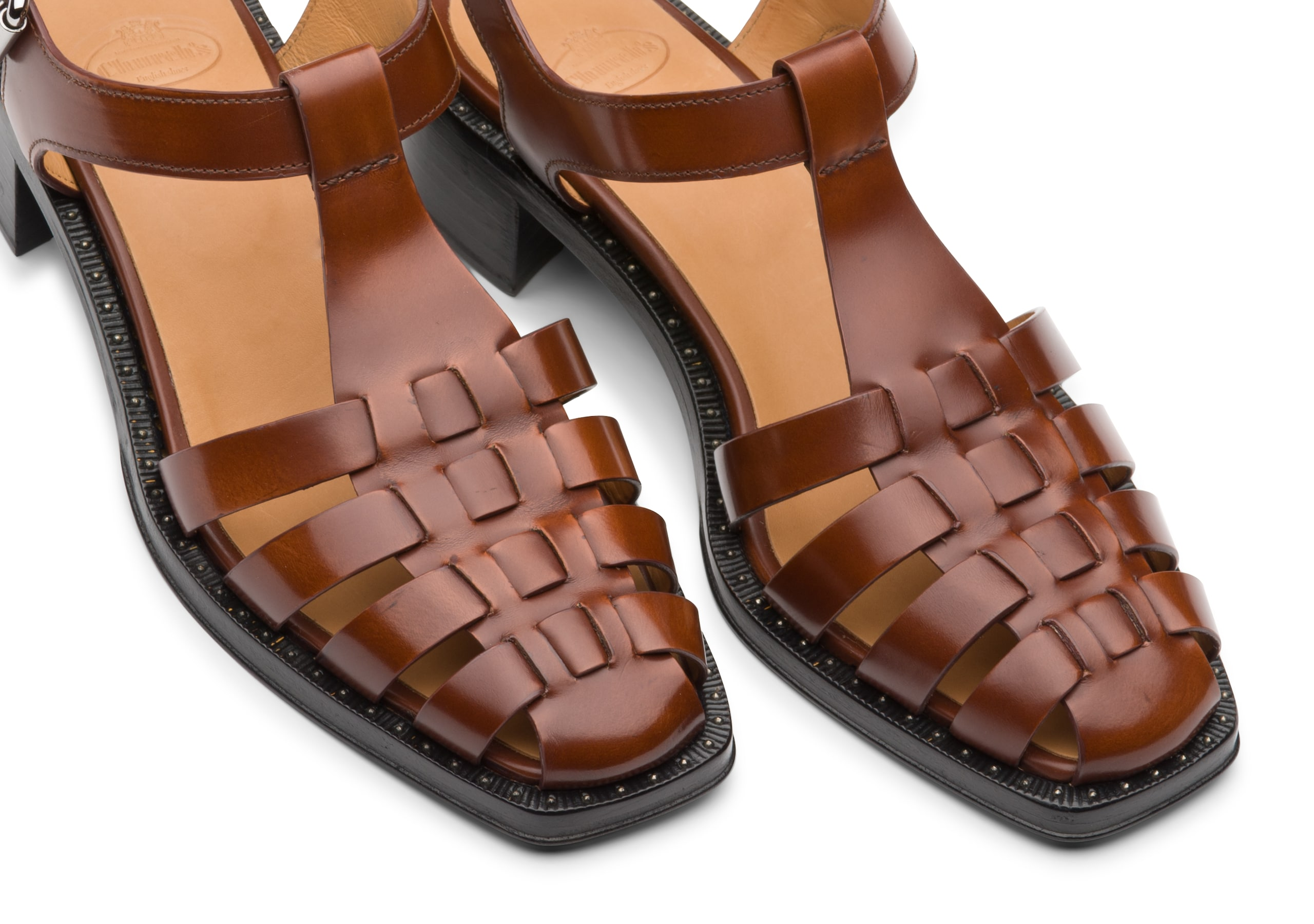 Genny Church's Bookbinder Fumè Square Toe Sandal Brown