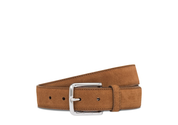 Church's Square buckle belt Castoro Suede Tabac