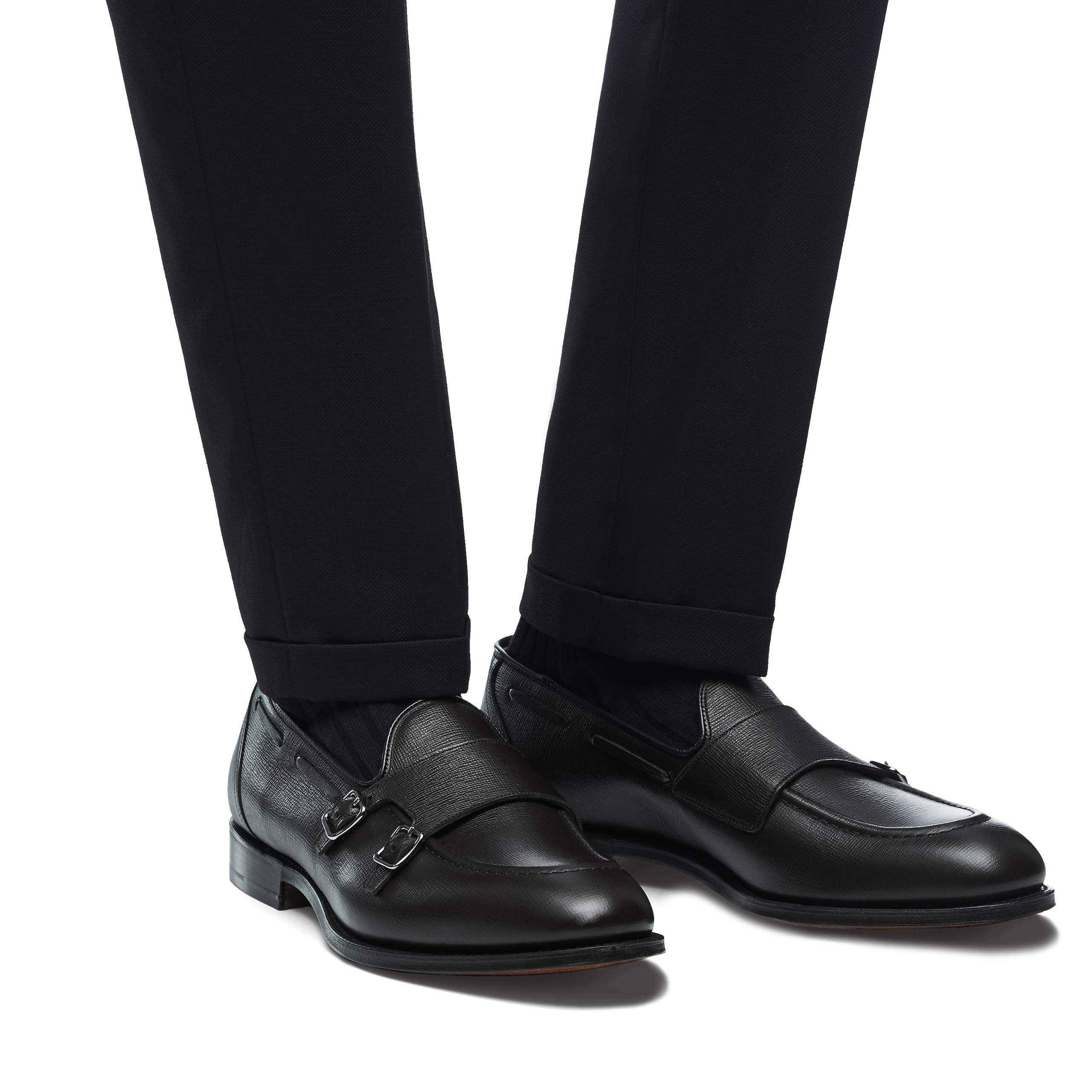 Clatford Church's St James Leather Monk Strap Black