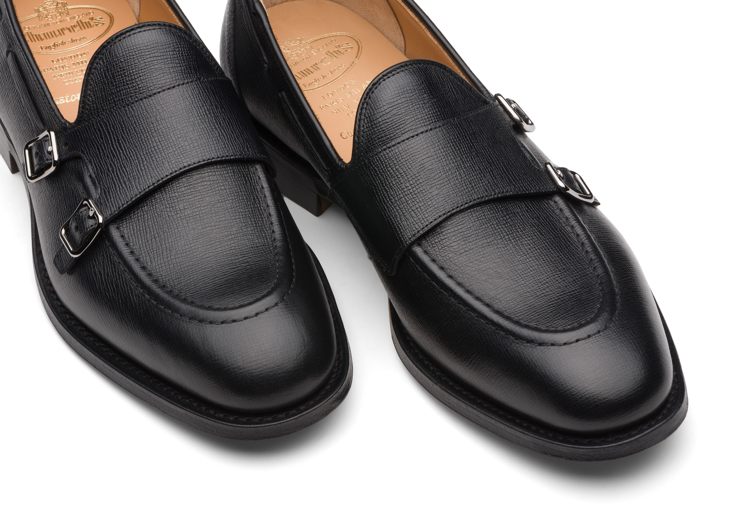 Clatford Church's Monk Strap in Pelle St James Nero