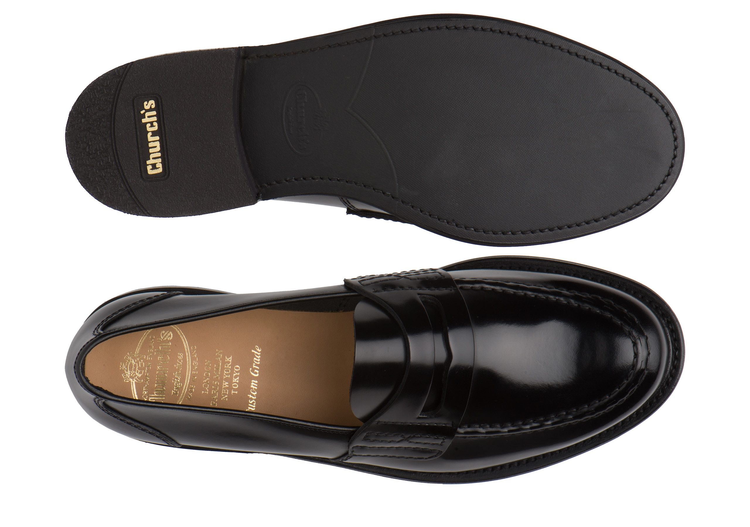 Farsley Church's Bookbinder Fumè Penny Loafer Black