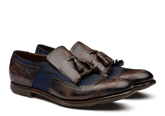 Church's true Mocassino in lino e pelle glacé vintage Ebony/navy