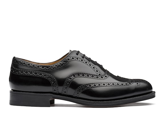 Church's Burwood Oxford Brogue in Pelle di Vitello Spazzolato Nero