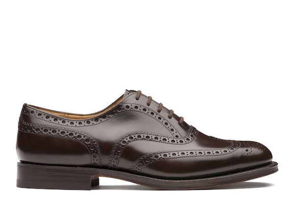 Church's Burwood Oxford Brogue in Pelle di Vitello Spazzolato Ebony chiaro