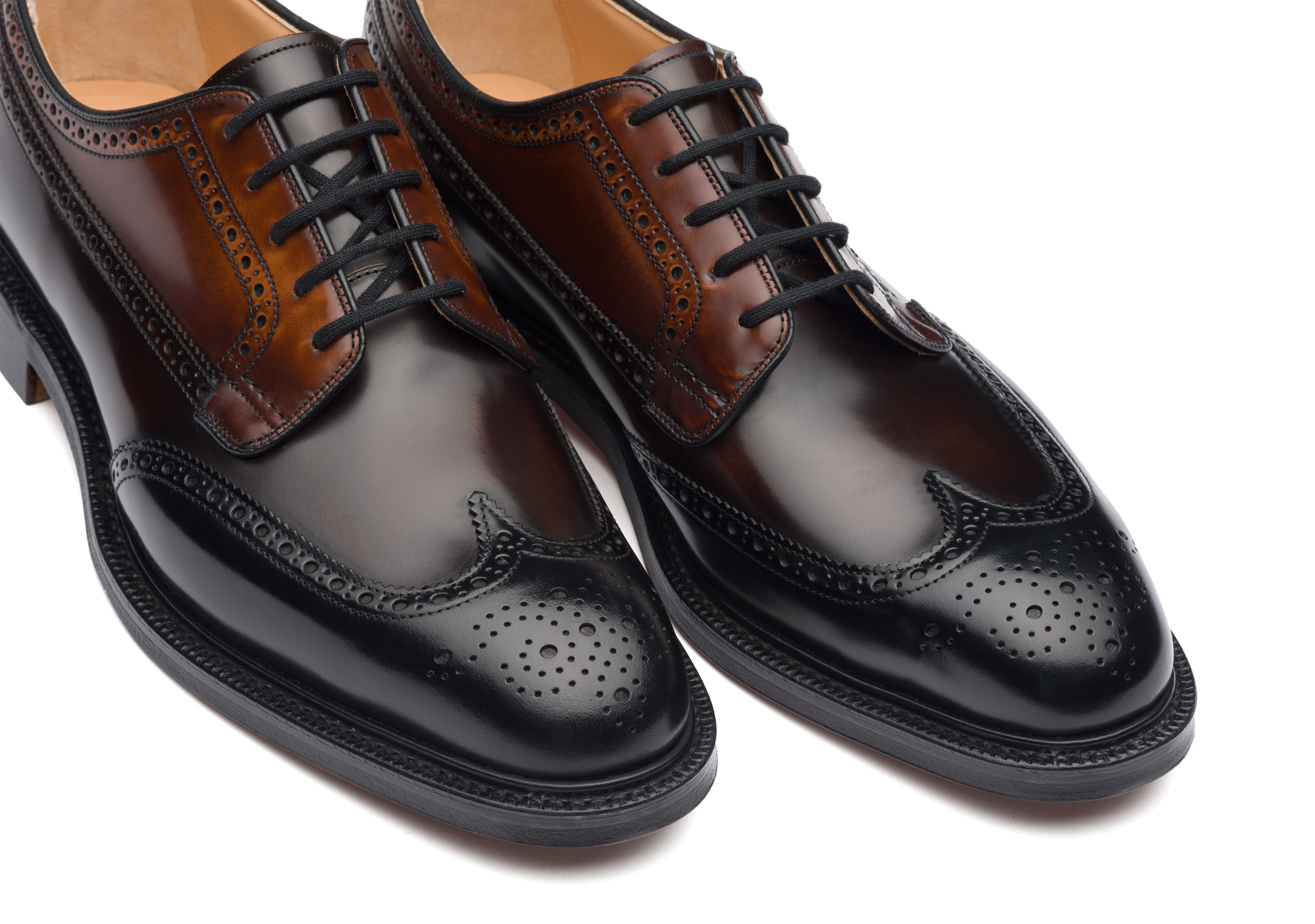 Grafton 173 Church's Polished Binder Derby Brogue Tricolor Black
