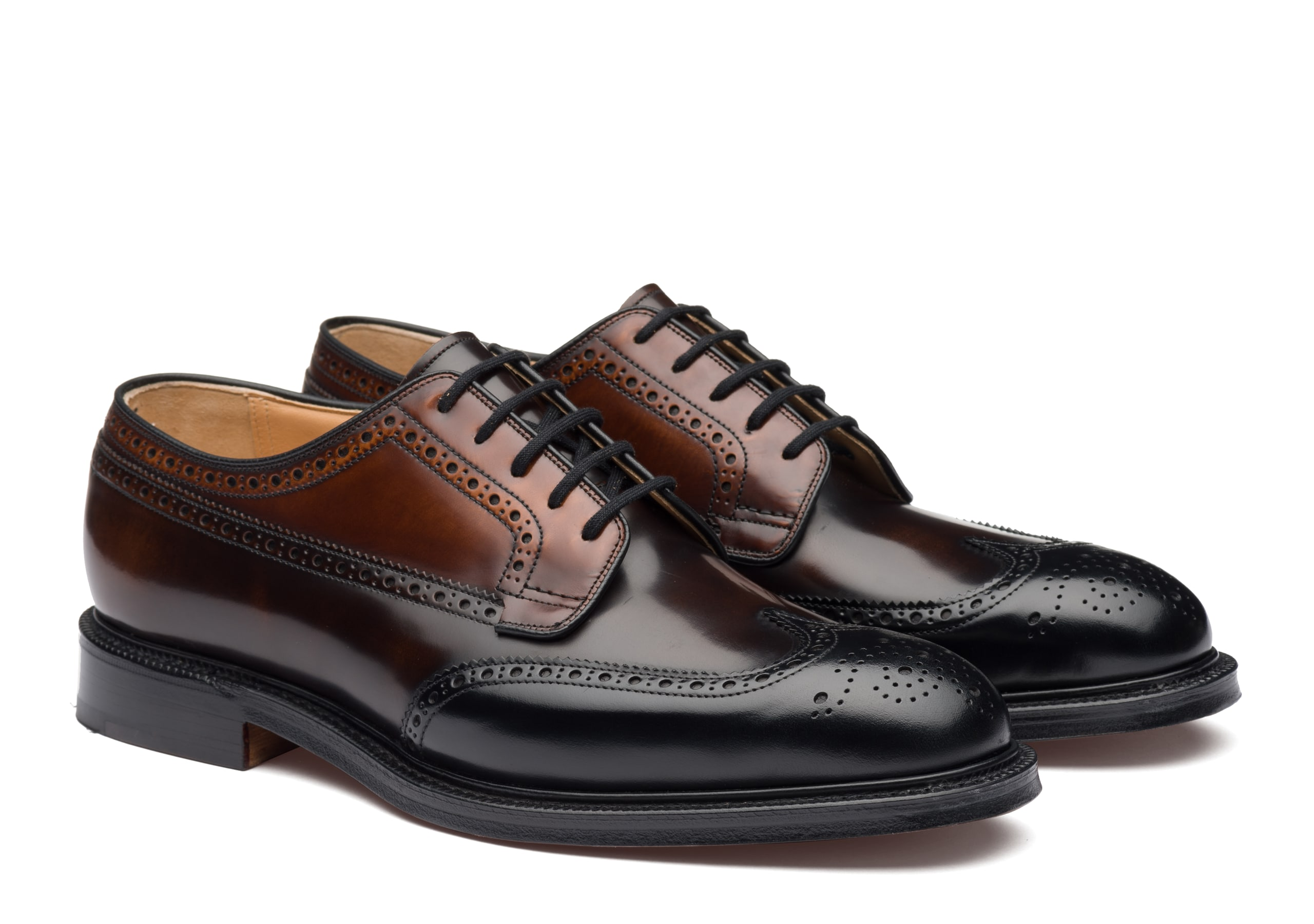 Grafton Church's Polished Binder Derby Brogue Tricolor Black