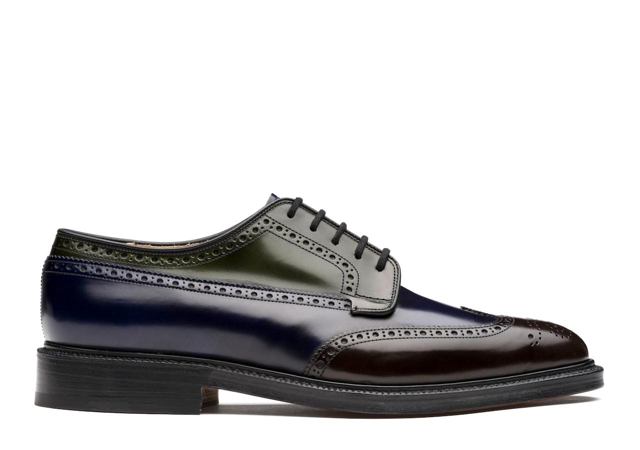 Grafton Church's Derby Brogue in Pelle di Vitello Spazzolato Tricolore Marrone