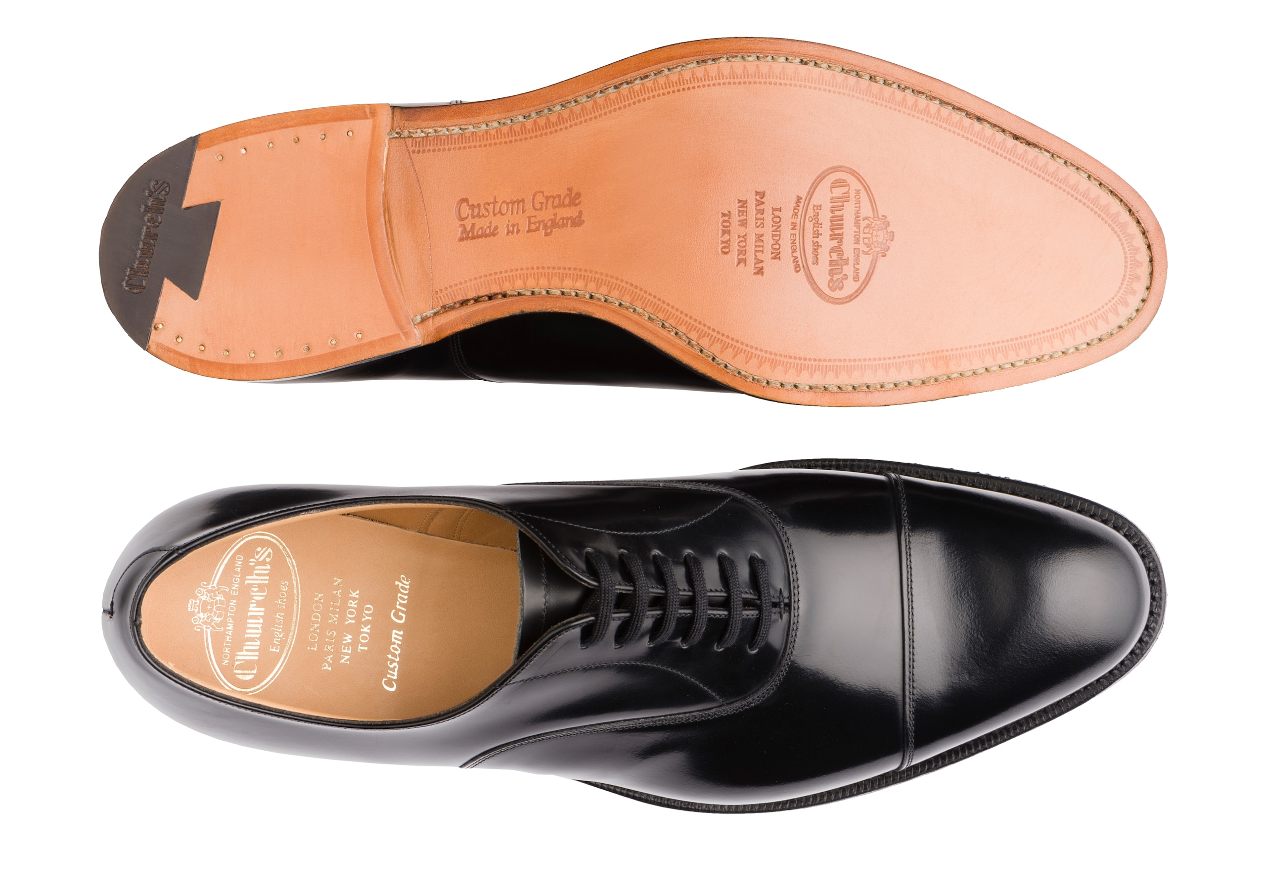 Dubai Church's Oxford in Pelle di Vitello Spazzolato Nero