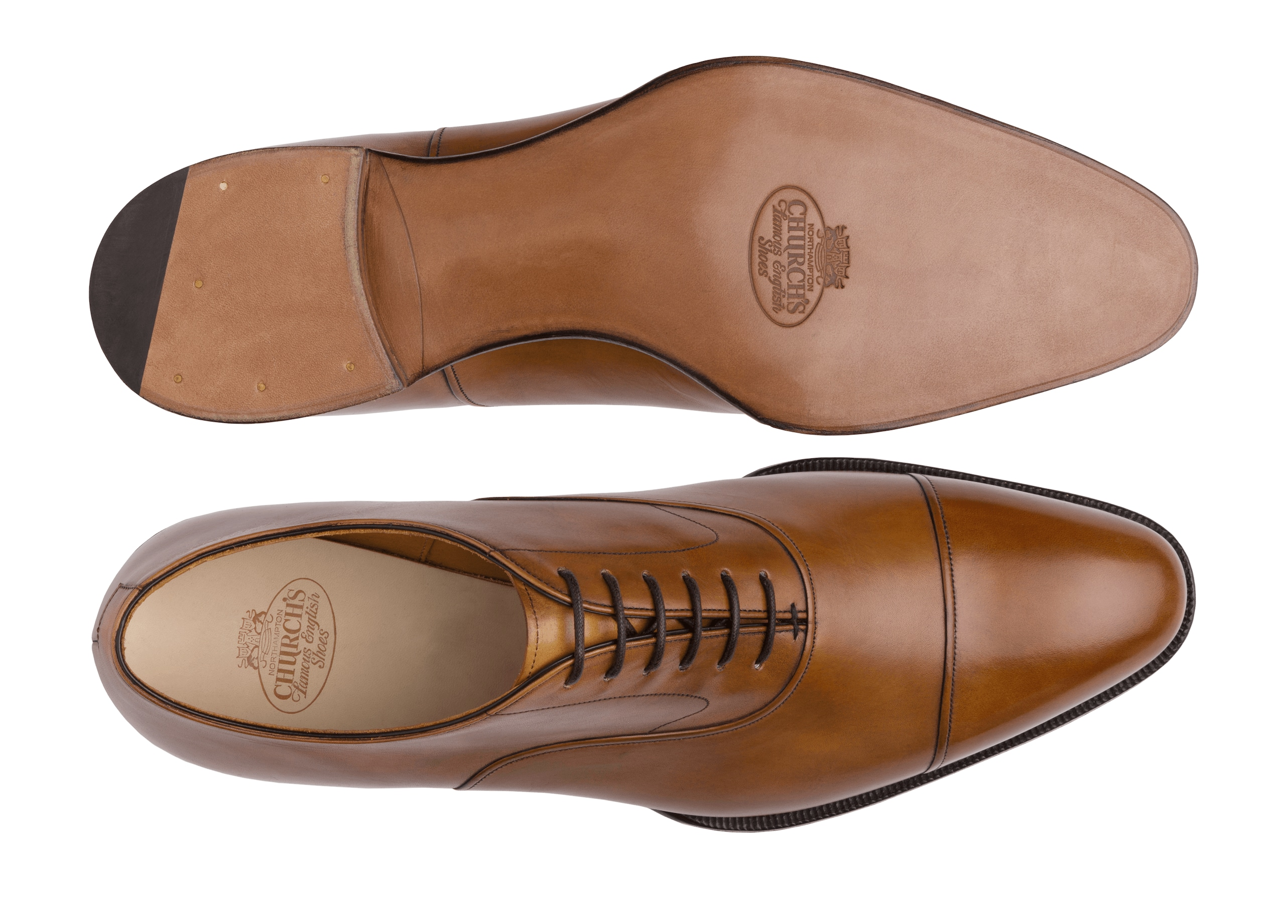 Barnes Church's Oxford in Pelle Masai Marrone