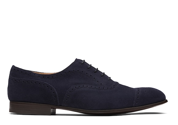 Church's Duxford Oxford Brogue in Pelle Scamosciata Blu scuro