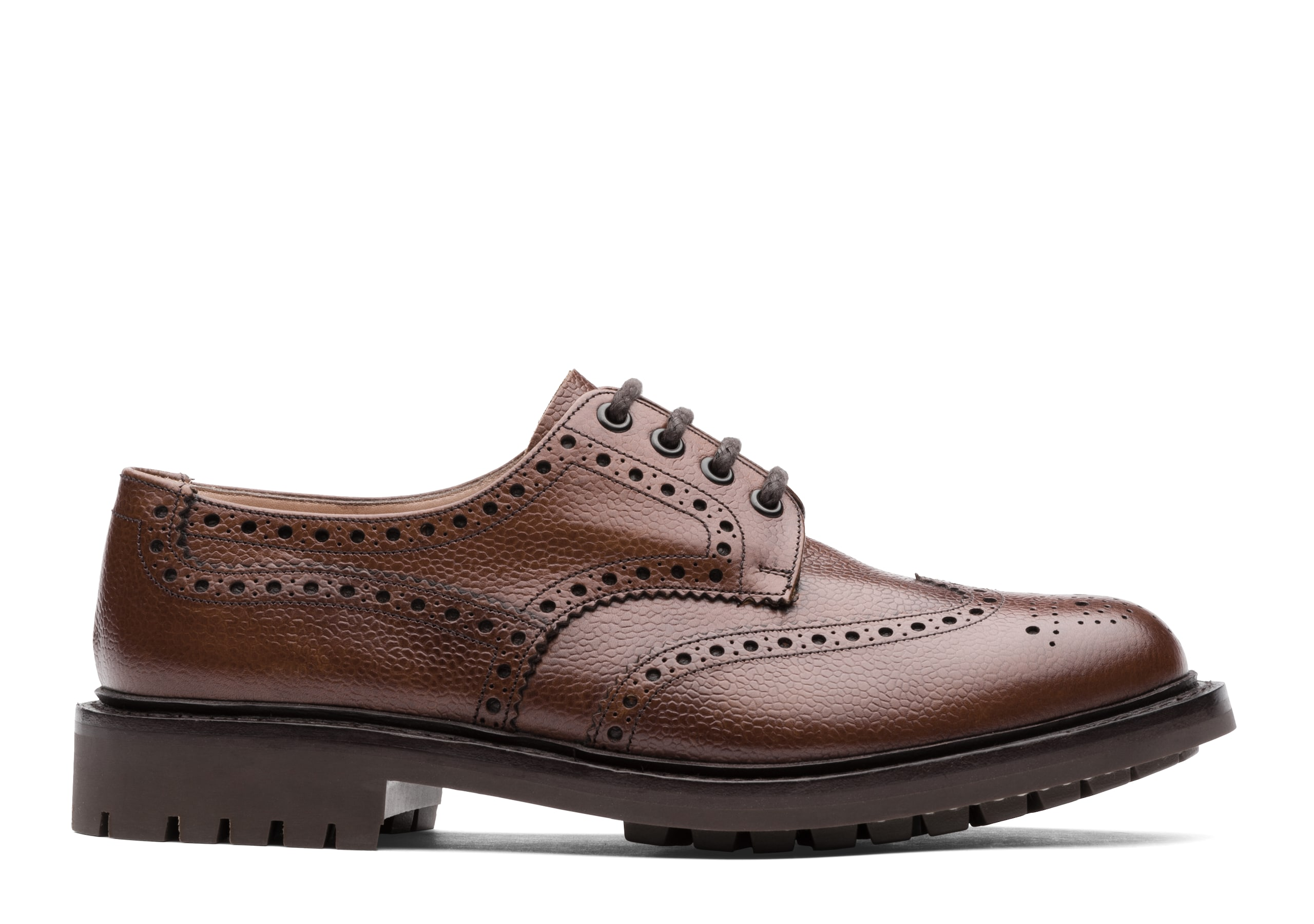 Mcpherson Church's Derby Richelieu en Cuir Grainé Highland Marron