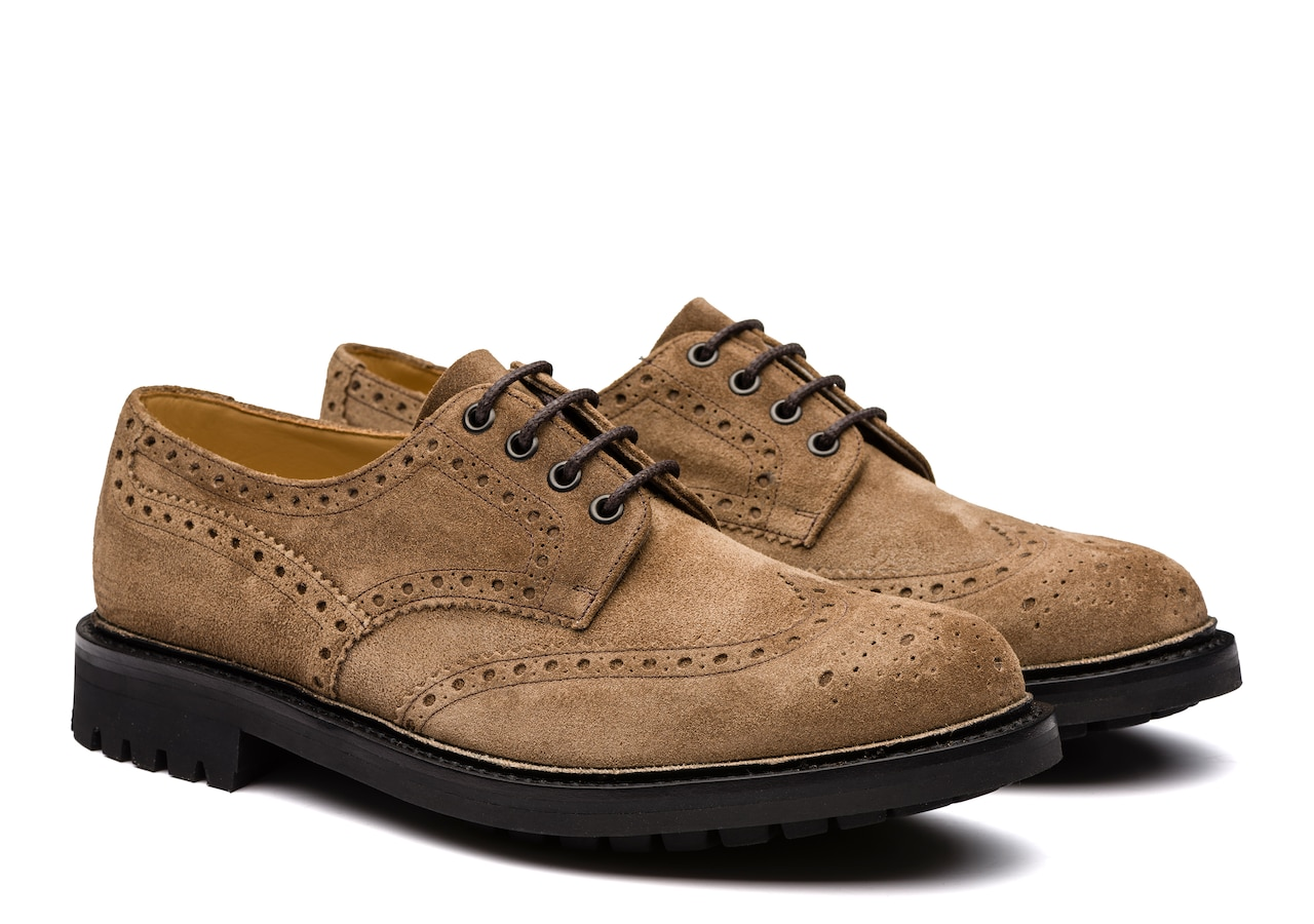 Mcpherson Church's Waxed Suede Derby Brogue Brown