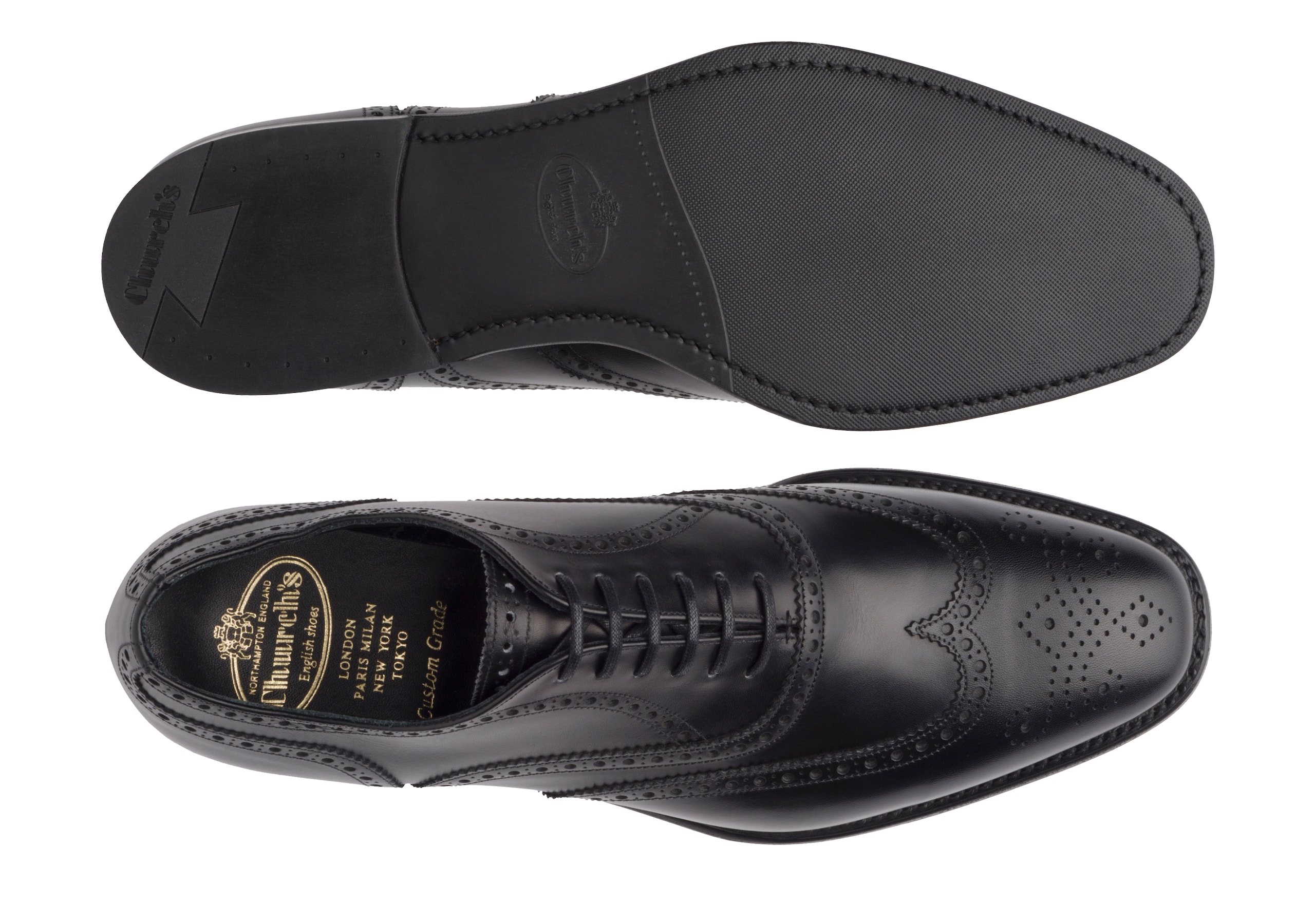 Parkstone Church's Oxford Brogue in Pelle di Vitello Nero