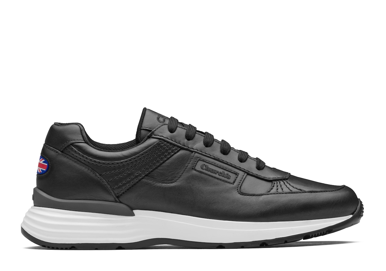 Ch873 Church's Plume Calf Leather Retro Sneaker Black