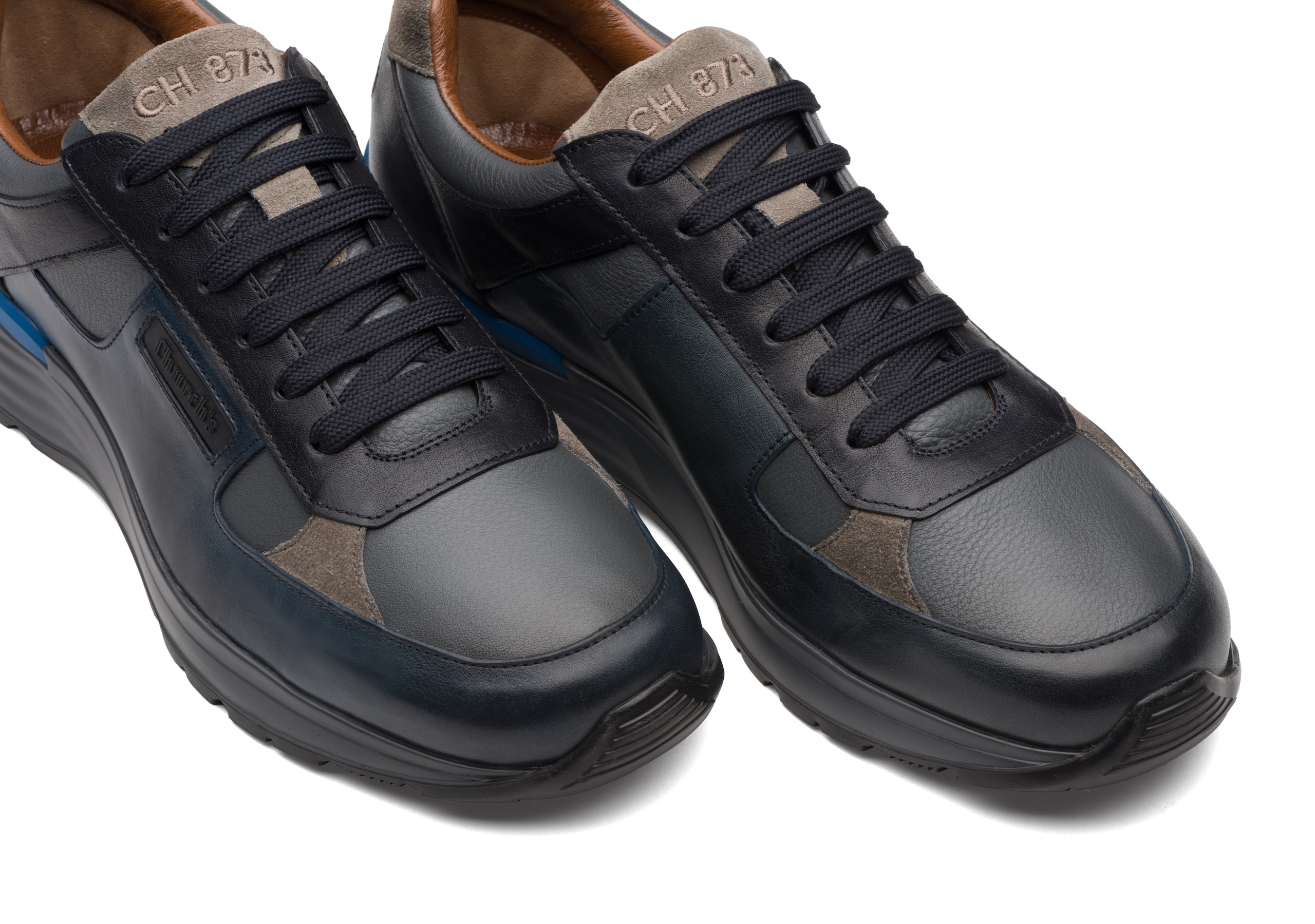 Ch873 Church's Vintage Calf Leather Retro Sneaker Blue