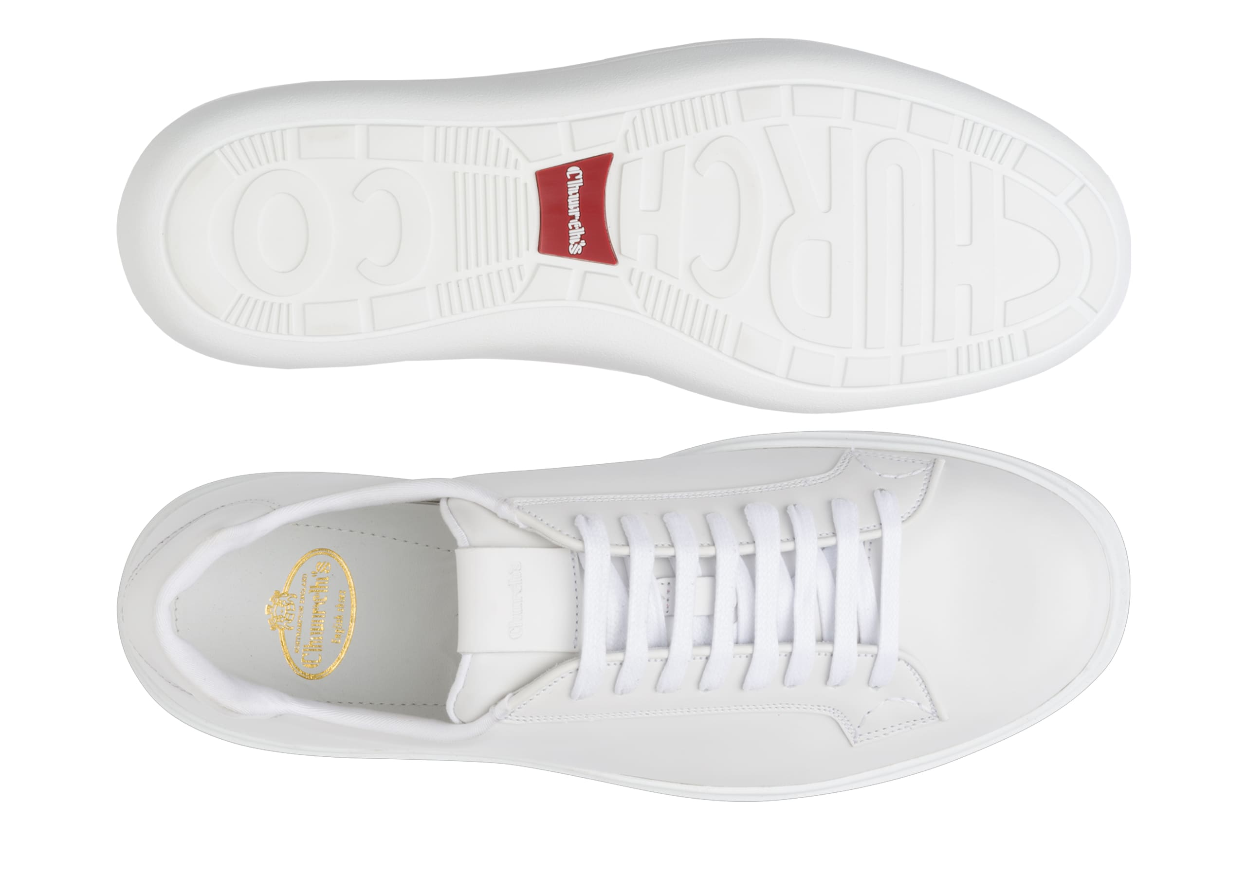 Boland Church's Sneaker Classica in Pelle di Vitello Bianco