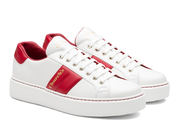 Church's Mach 3 Soft Calf Leather Classic Sneaker White/red