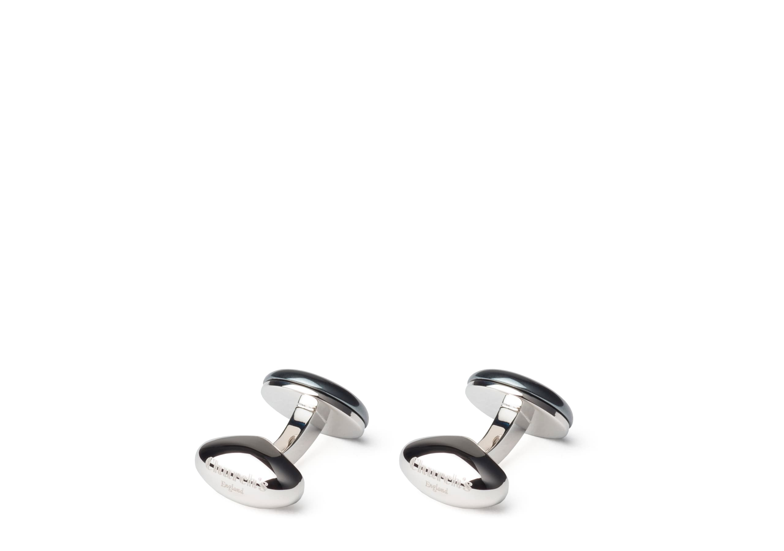 Crest cufflink Church's Haematite and Rhodium Plated Crest Neutral