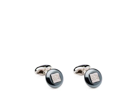 Church's Crest cufflink Haematite and Rhodium Plated Crest
