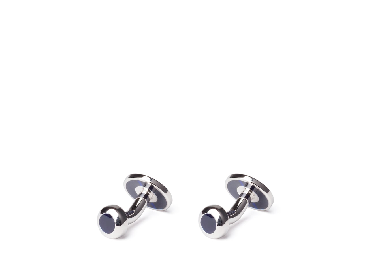 Floating stone cufflink Church's Catseye and Rhodium Plated Oval Blue