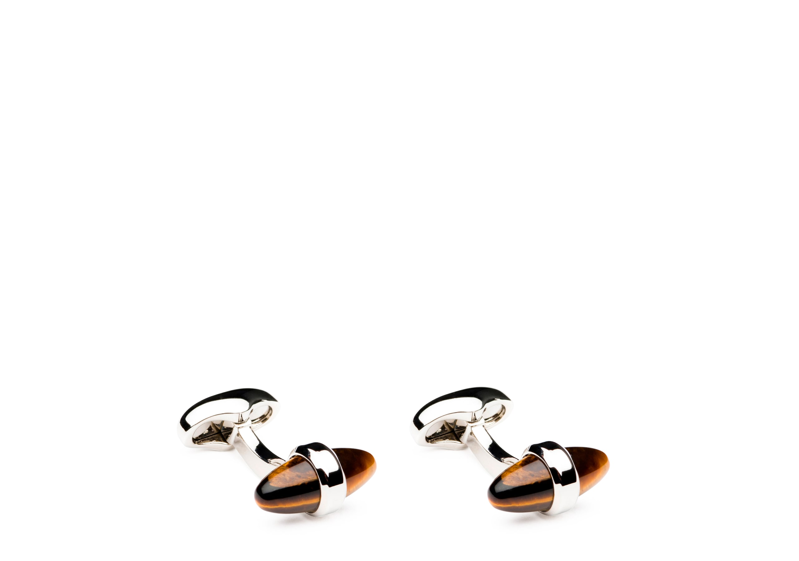 Bullet cufflink Church's Tigers Eye and Rhodium Plated Bullet Brown