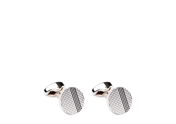 Church's Strata cufflinks Rhodium Plated Textured Silver