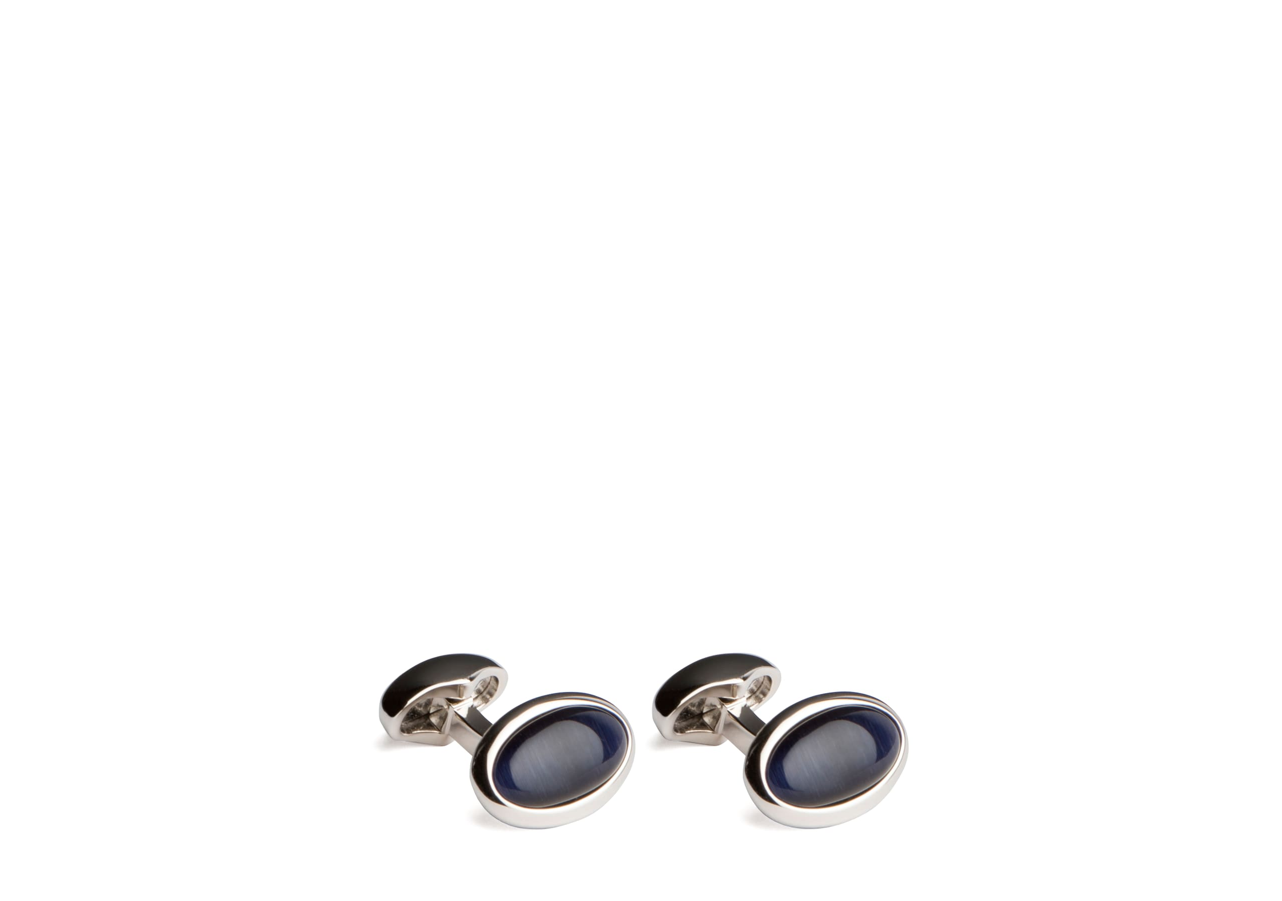 Oval pumice cufflink Church's Pumice & Rhodium Plated Oval Blue