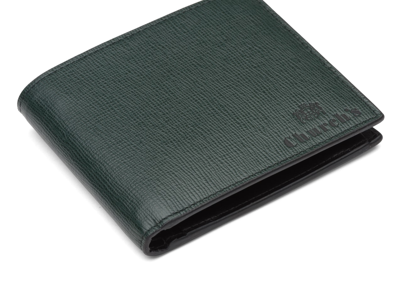 Billfold coin wallet Church's St James Leather 4 Card and Coin Wallet Green