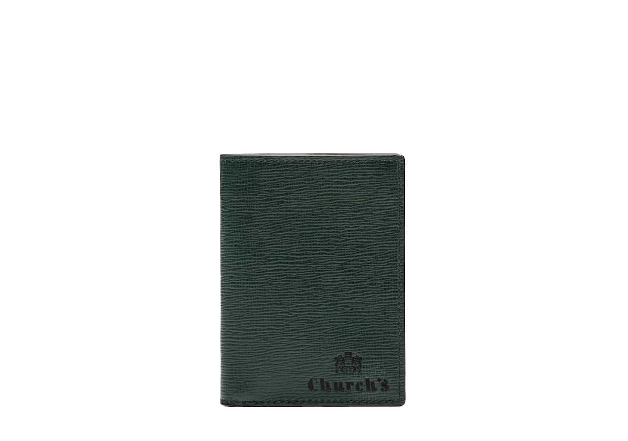 Folded cardholder   Church's St James Leather Card Holder Green