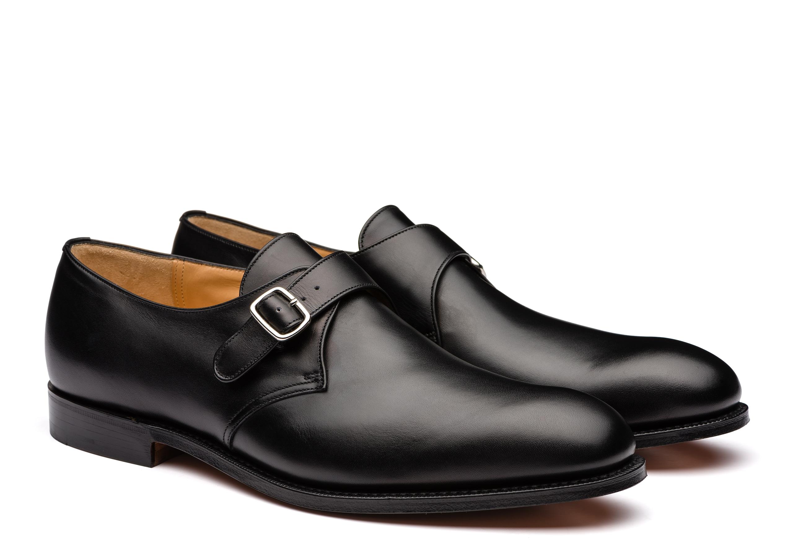 Becket Church's Chaussure à Boucle en Cuir de Veau Noir