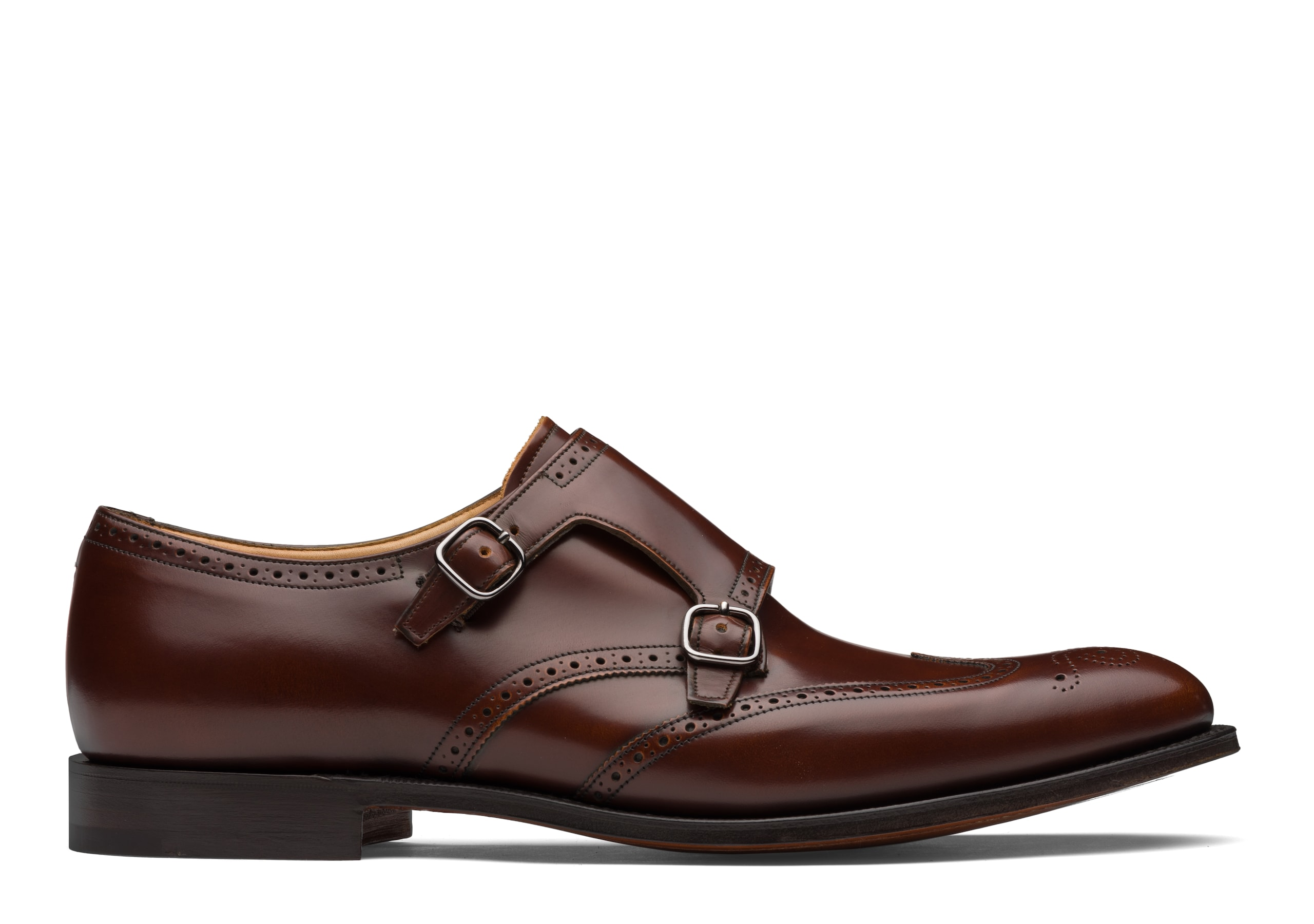 Chicago Church's Polished Fumè Monk Strap Brogue Brown