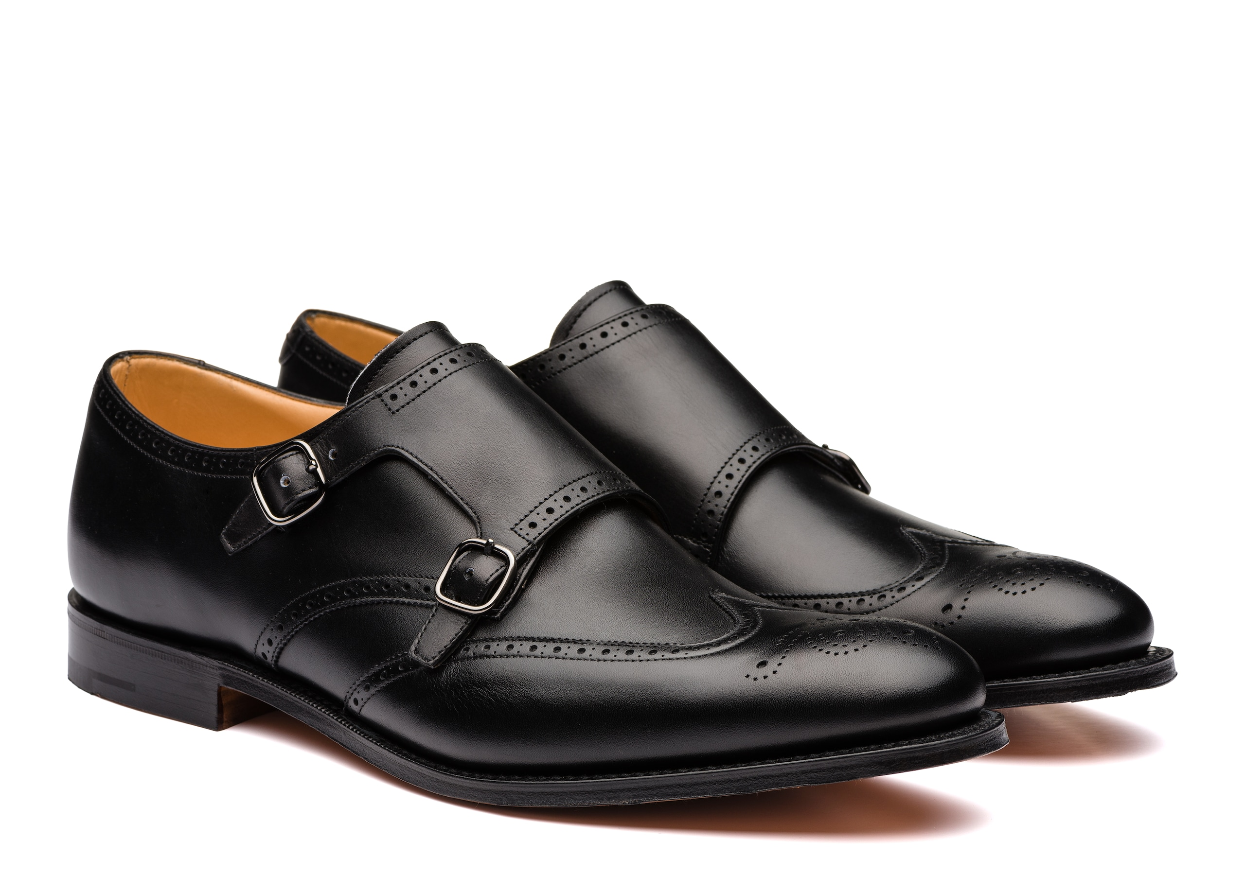 Chicago Church's Calf Leather Monk Strap Brogue Black