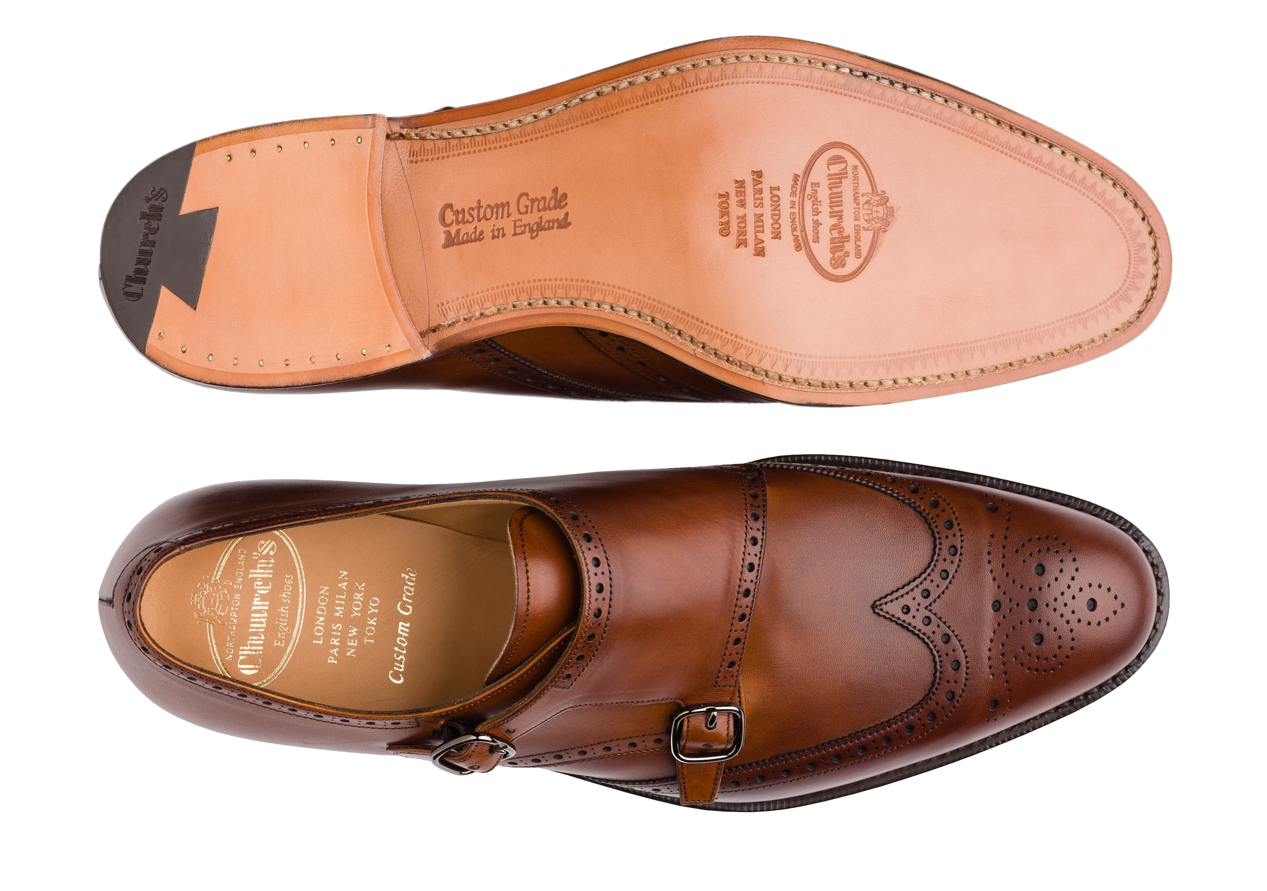 Chicago Church's Nevada Leather Monk Strap Brogue Brown