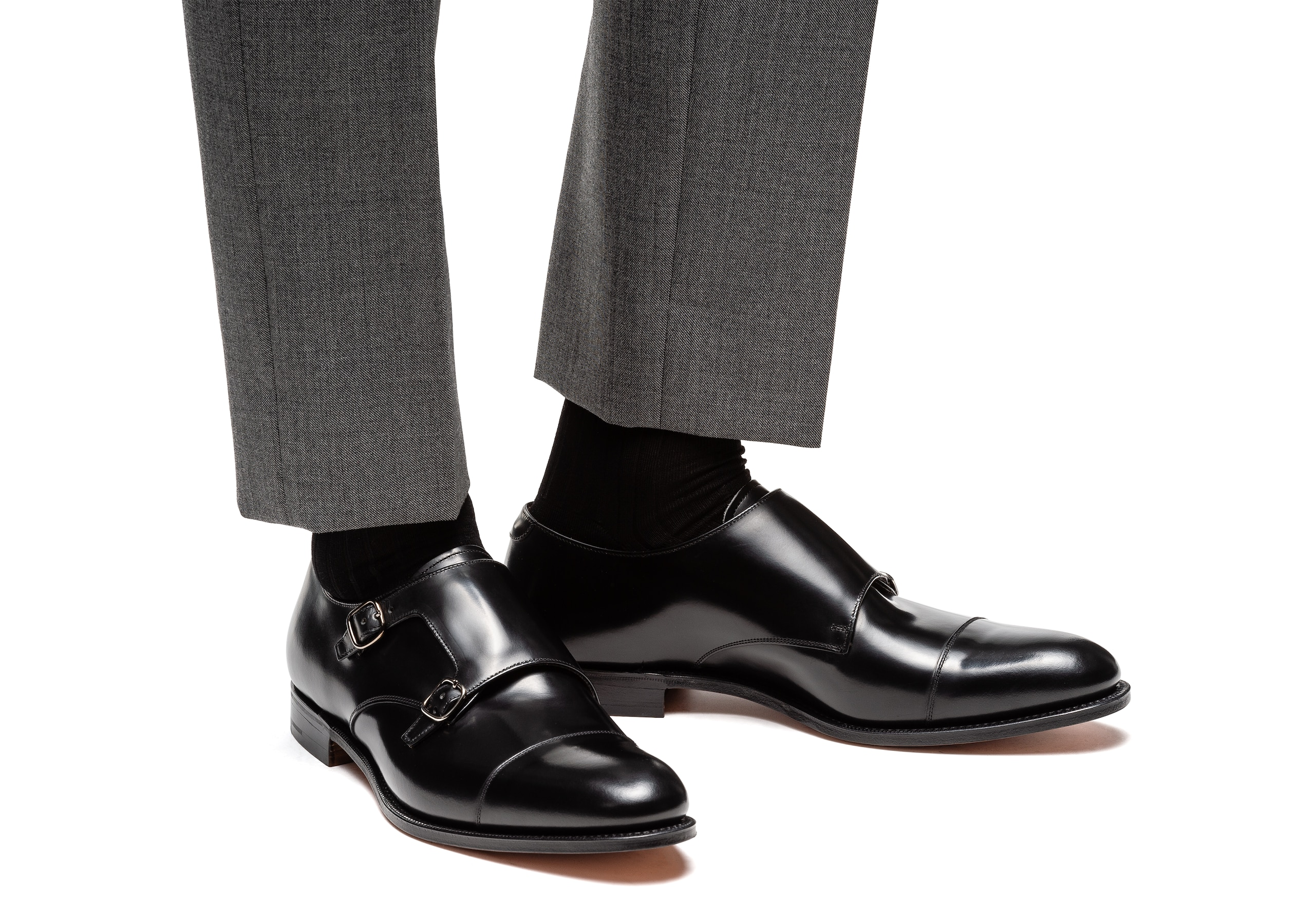 Detroit Church's Monk Strap in Pelle di Vitello Spazzolato Nero