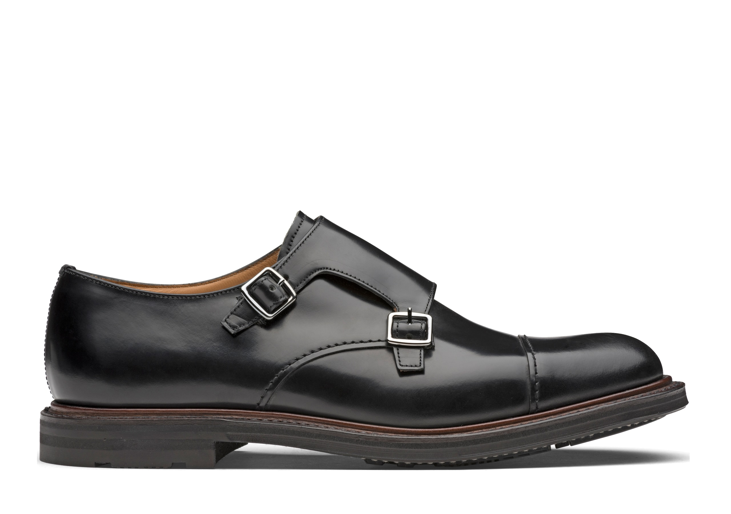 Wadebridge Church's Monk Strap in Pelle di Vitello Spazzolato Nero